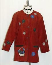 LEATHER ~ RED German Women EMBROIDERED ~ FLOWERS Dress JACKET Over Coat 44 18 XL