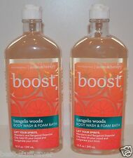 LOT OF 2 BATH & BODY WORKS AROMATHERAPY BOOST TANGELO WOODS WASH FOAM BUBBLE GEL