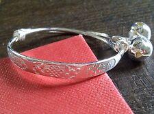 SB 03 Plum UK babies' / children's silver bracelet, 2 silver bells GIFT BOXED