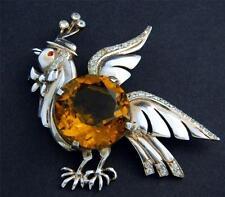 Vintage Unsigned Reja Sterling Chicken Brooch HUGE Topaz Crystal