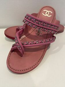 Chanel Pink Leather Silver Chain Dandling CC Logo Thong Sandals Flat Wide 40