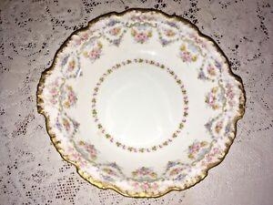 """Pouyat Limoges Orchid Cabinet Plates Gold 9.75"""" circa 1908 Antique J"""