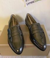 Michael Kors Connor Metallic Leather Pointed Toe Loafers Size 9.5M 40.5 GUNMETAL