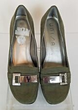 UNISA Womens Faux Suede Heel Wedge Shoes Green Size 7M Comfort