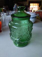 "Anchor Hocking Rainflower Green Glass Kitchen 9 1/2"" Canister Cookie Jar"
