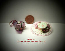MINIATURE EASTER PICTURE HAT AND BOUQUET OF SPRING FLOWERS