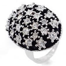 Vintage Black Fashion Clear Austrian Crystal 18K WGP Alloy Oval Ring Sizable