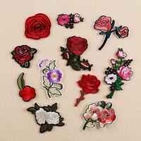 11pcs Set Embroidered Rose Flower Iron on Sew Bag Hat Dress Patch Badge Applique