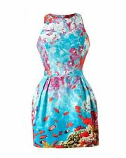 WOMEN'S ATMOSPHERE DRESS UNDER THE SEA BLUE RED FISH CORALS AQUARIUM SIZE SMALL