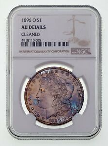 1896-O $1 Silver Morgan Dollar Graded as AU Details (Cleaned) by NGC Cool Toning