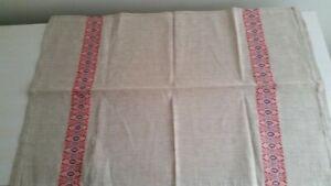 Vintage Handmade Linen Kitchen Towel Quebec Folk Art – Beige with Red Embroidery