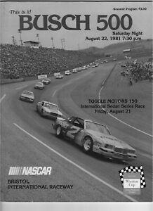 Busch 500 August 22 1981 souvenir Nascar Program