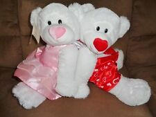 Bears Valentine Boy Girl Couple White Stuffed Plush Red Pink heart Silky Soft