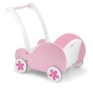 NEW Viga Toys Traditional Pink Wooden Dolls Buggy Pram Stroller