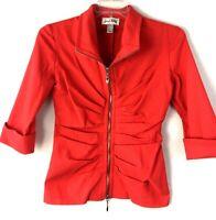 Joseph Ribkoff Zip-up Blazer/ Jacket stretch 3/4 Sleeves Sz 8 Flamingo Red 20623