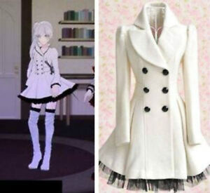 Anime RWBY--Weiss Schnee White Trailer of Cosplay Costume Over Dress Coat