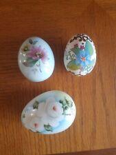3 Hand Painted Vtg. Porcelain Egg Figurines