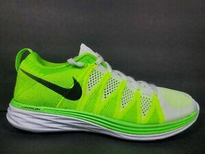 Nike Flyknit Lunar 2 Womens Size 9 Shoes White Electric Green Black 620658 107