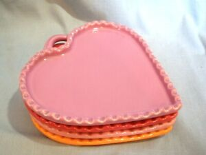 """WILLIAMS-SONOMA RUSTIC HEART~7""""~SNACK PLATES~SET OF 4~PINK,LILAC,RED,ORANGE"""