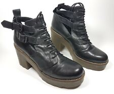 Office London black leather high block heel ankle boots uk 8 eu 41