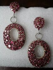Pink Tourmaline & White Sapphire Large Drop/Dangle Earrings, Sterling Silver