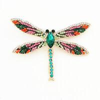 Colorful Crystal Rhinestone Big Dragonfly Charm Betsey Johnson Animal Brooch Pin