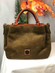 DOONEY & BOURKE Barlow Olive Green Suede Leather Sm Satchel Bag (No Long Strap)