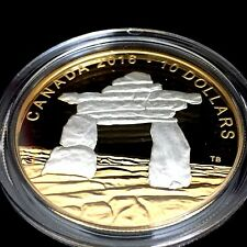 1/2 oz. Reverse Gold-Plated Silver Coin – Iconic Canada: Inukshuk – Mintage 6000
