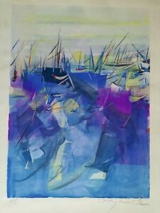WILLY MUCHA  - LITHOGRAPHIE - Port de Collioure - années 60 - Hors commerce