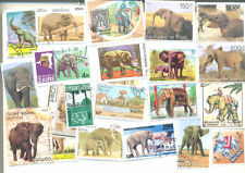 Elephants 50 all different stamps collection mainly large medium size