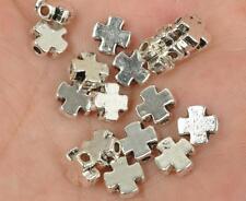 50pcs  tibetan silver charms cross spacer beads charms bead 7x3mm