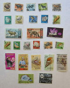 Kenya, 26 used postage stamps, old, all different, commemorative, regular issue