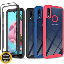 For Samsung Galaxy A01 Case, Dual Layers Cover + Tempered Glass Protector