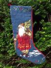 christmas stocking needlepoint vintage santa with tree  21'