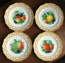MEISSEN GERMANY~Lovely Set of 4 Antique Meissen Gilded Plates~Marks/Numbers~EXC