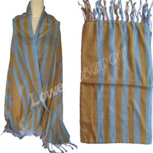 Striped Scarf Handloom Cotton Oblong Wrap Hijab Dupatta Pashmina Green yellow
