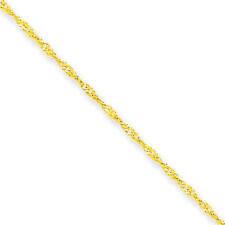 Women's 10K Yellow Gold 1.1 MM Singapore Bracelet, 7 MSRP $58