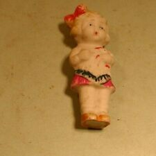 1940's Small Molded Bisque Doll Wearing Dress & Bow in Hair - Japan