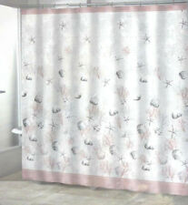 Pink Shells Starfish Fabric Shower Curtain Coastal Beach Nautical Decor NEW