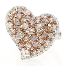 Real 4.62ct Natural Fancy Pink Diamonds Engagement Ring 18K Solid Gold 10G Heart