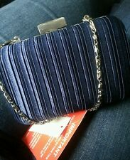 Small Navy Blue Clutch Bag Box/Royal/Dark/Clasp/Chain/Midnight/Satin/Evening/NEW