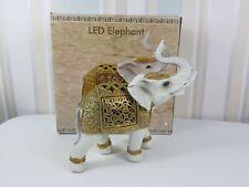 The Leonardo Collection LED Grey Elephant With Gold Saddle Figurine Porcelain