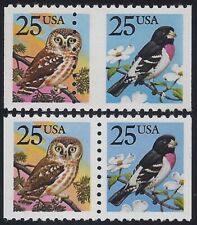 "2285d - Scarce Misperf Error / EFO Pair ""Owl & Bird"" Mint NH ""Read"""