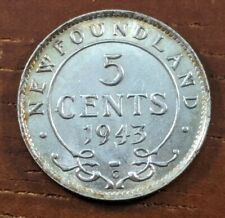 1943 C MS UNC BU Newfoundland Canada 5 Five Cents Silver Half Dime Coin Lot D82