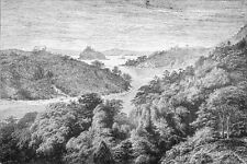 JAPAN - THE PAPENBERG, ISLAND at the entrance to NAGASAKI -Engraving from 19th c