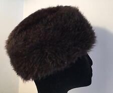 "VINTAGE REAL FUR HAT 20-21"" BROWN SHEEPSKIN COSSACK STYLE HAT CUSTOM MADE"