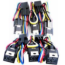 GENSSI 10pcs 12V Automotive 30/40 AMP Relay Car 5 pin Harness 5 wire Socket SPDT
