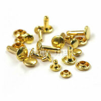 Brass Double Cap Rivets 6/8/10mm Round Rapid Rivet Leather Craft Punk Spike Tack