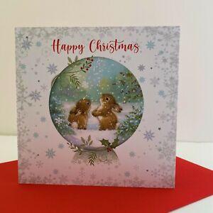 Cherry Orchard Happy Christmas Card Bunny Rabbits Snow Globe/XN885