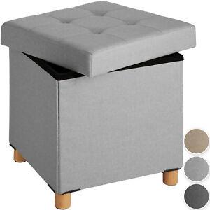 Faltbarer Sitzhocker mit Stauraum Sitzwürfel Aufbewahrungsbox Pouf Leinen Holz
